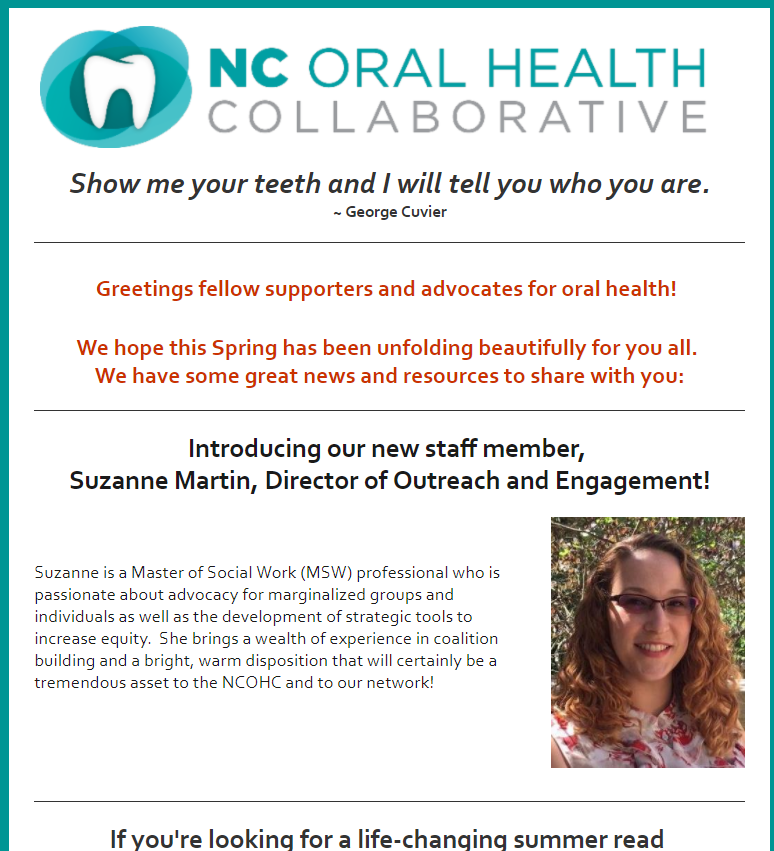 """May 2017  New Director of Outreach and Engagement  Great Read - Mary Otto's Book """"TEETH"""""""
