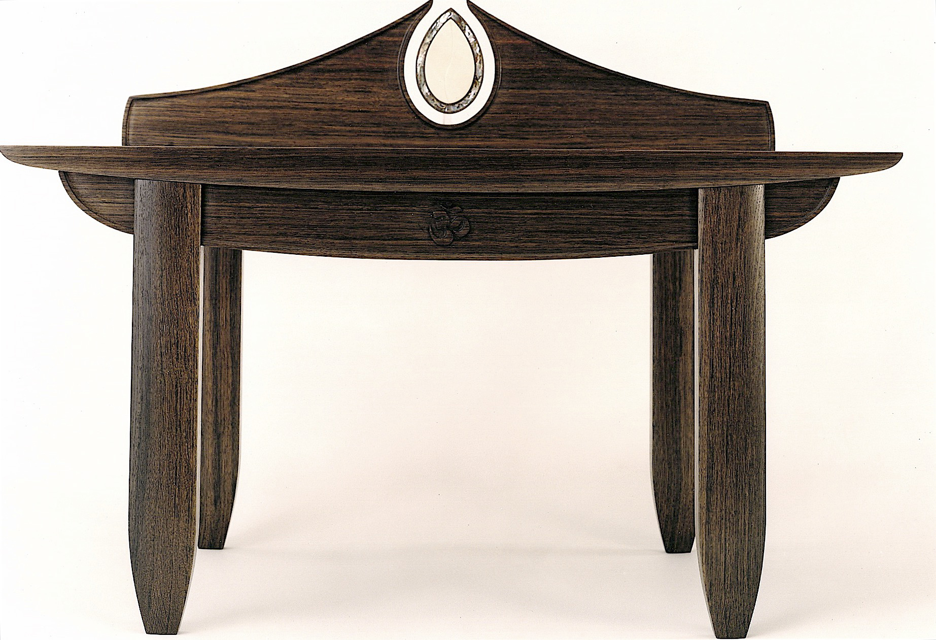"""prayer table (34""""W X 19""""D X 18""""H , front): Estonian bog oak with a natural oil finish, woolly mammoth tusk & green abalone details"""