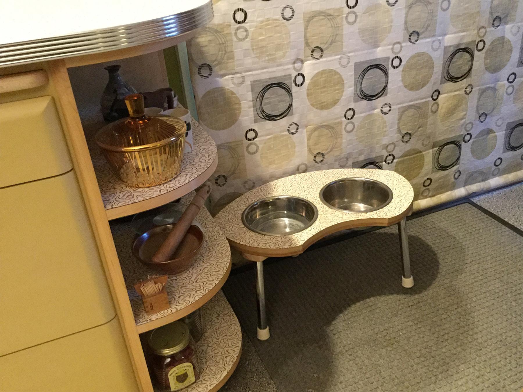 A custom matching feeding station for Beau