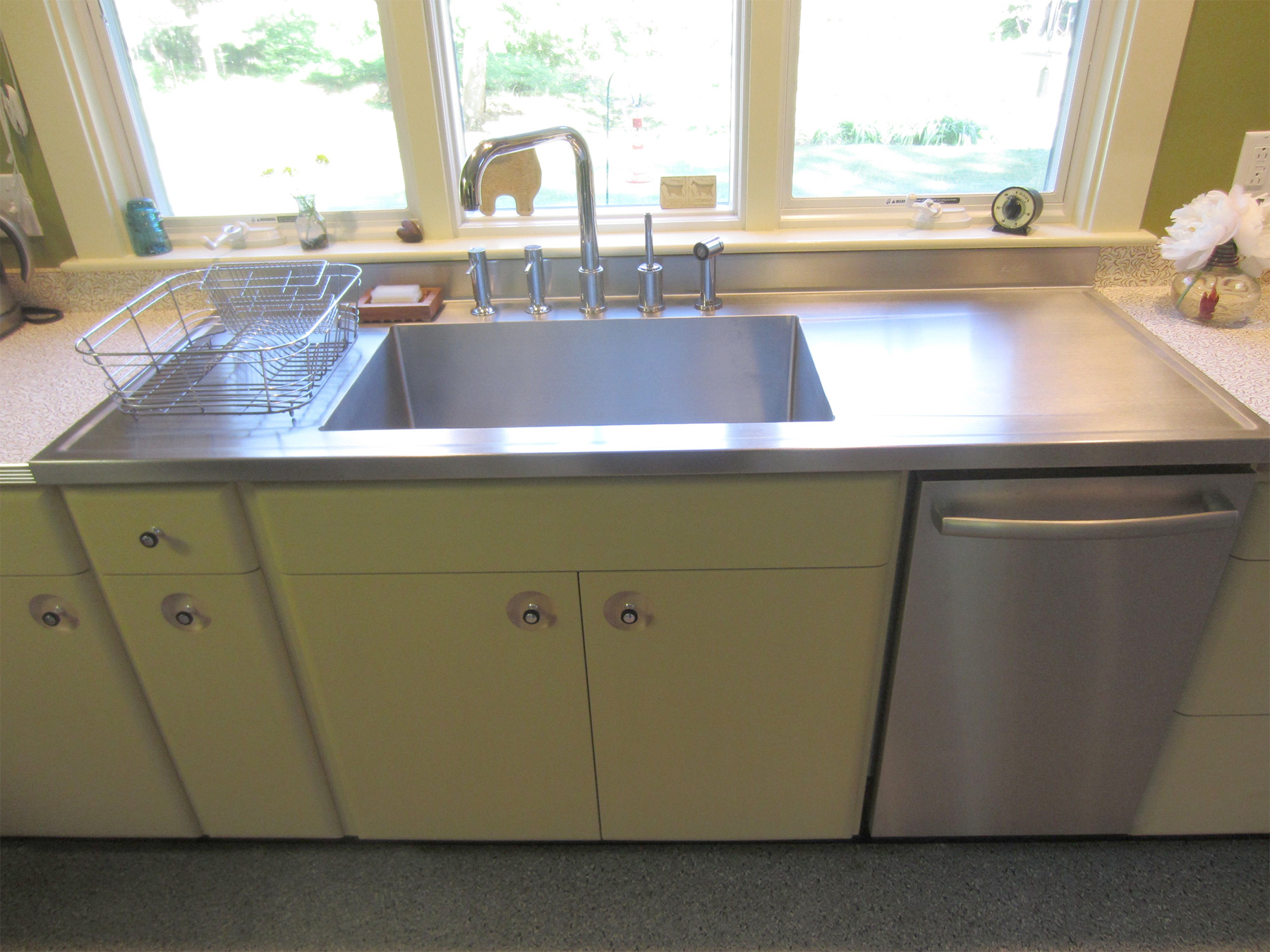 Oakledge kitchen-01: maple cabinetry with both a natural finish & a poly/oil/wax finish over milk paint. Custom Elkay stainless sink & drainboards.