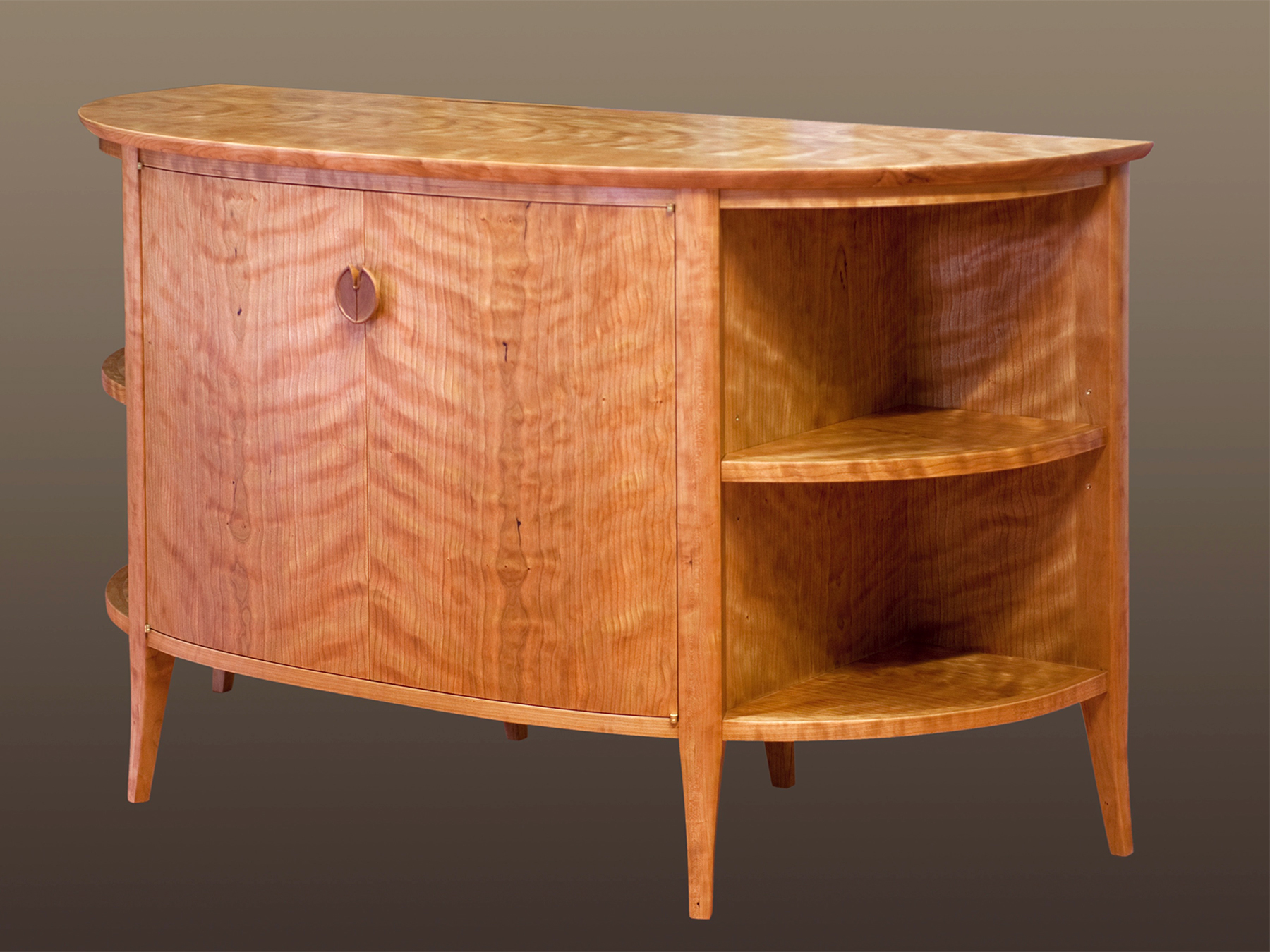 """Moonlight on Water  (50""""W X 22""""D X 30""""H): solid cherry with wide cherry veneer & an oil-rubbed finish"""