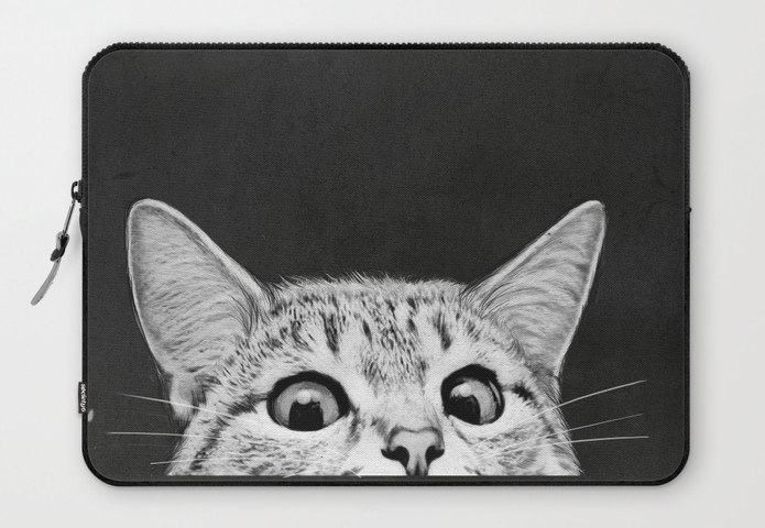 Society 6 Laptop Sleeve : Keep them computing in style with this cute laptop sleeve featuring a very skeptical feline. Society 6 is full of cute tech accessories if kitties aren't their thing. Perfect for the aesthetically driven teen.