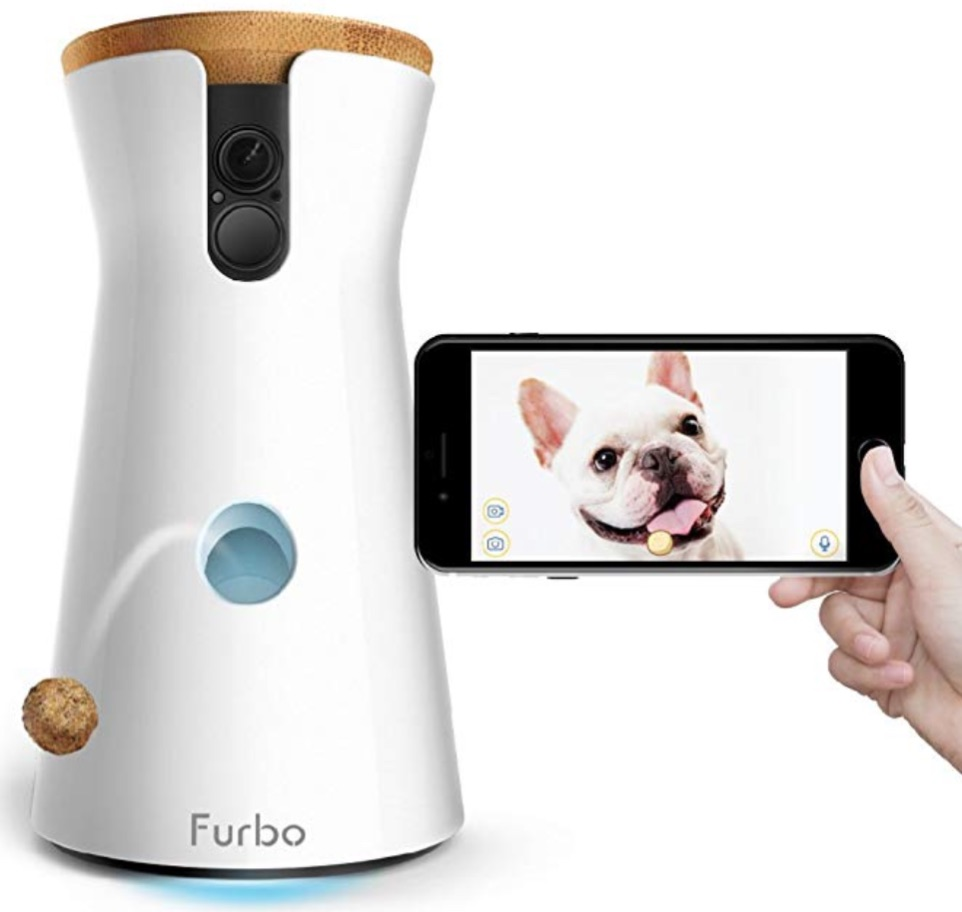 "Furbo Dog Camera : Do more than watch your dog. This camera, controlled by an app, also delivers treats, and lets you ""chat"" with your dog via 2-way audio."