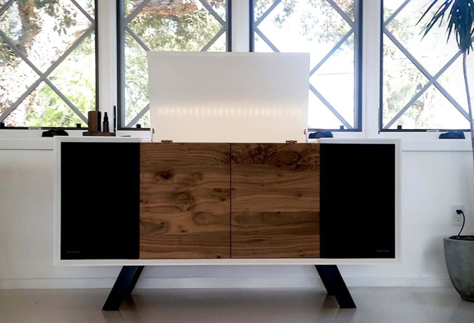 Wrensilva Sonos Edition Record Console : Listen to your vinyl on the turntable or your music and podcasts on the Sonos app. This handcrafted hardwood console has two fully integrated Sonos Play:5 speakers.