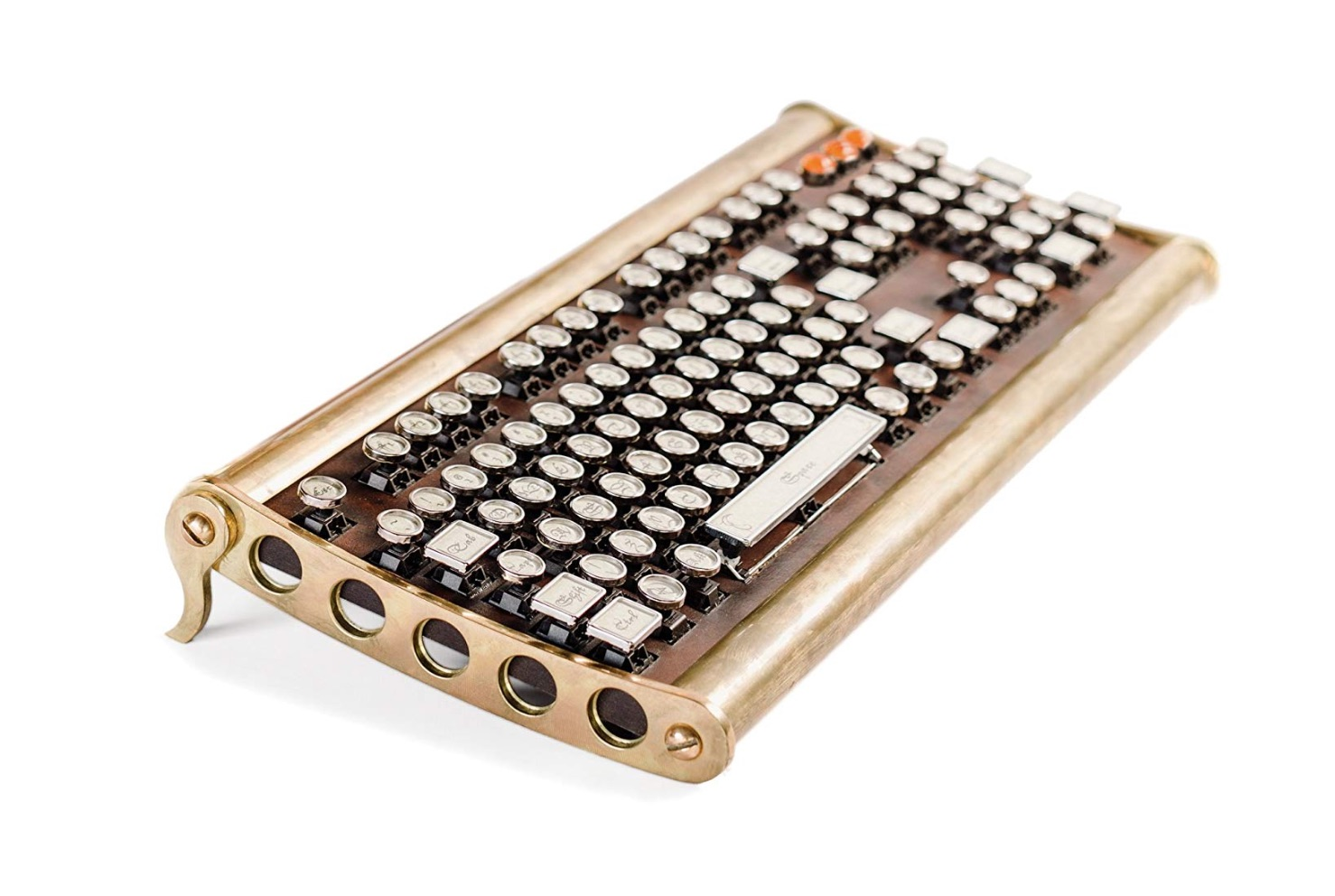 Sojourner Keyboard:  Type in luxury with this aged brass construction keyboard that has cherry MX switches. If you don't buy the keyboard, read the reviews on Amazon for some good laughs.