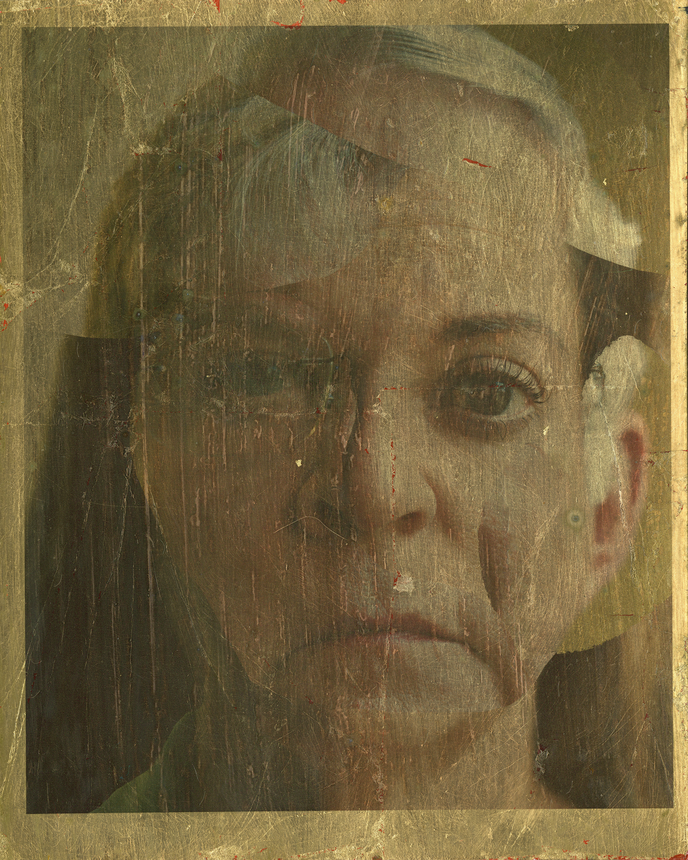 """Archival Pigment Print on hand-applied gold leaf. 8""""x10""""."""