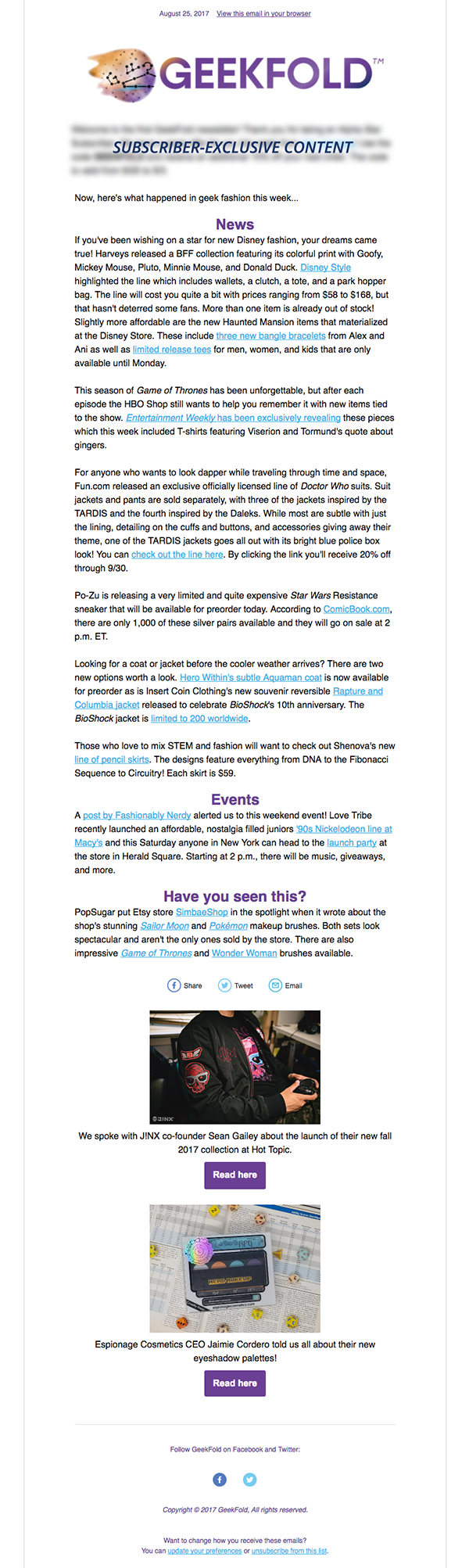 GeekFold Sample Newsletter