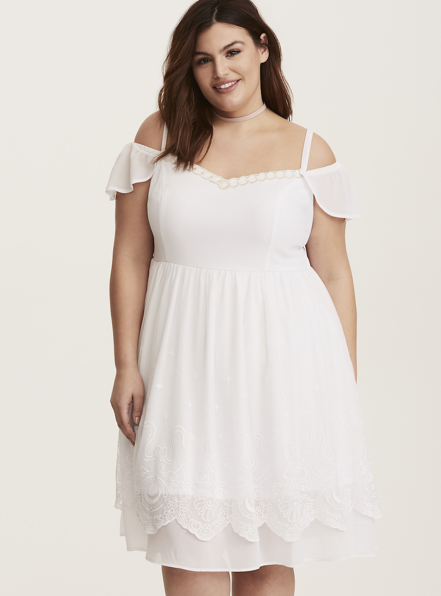 Cold shoulder dress. Photo credit: Torrid