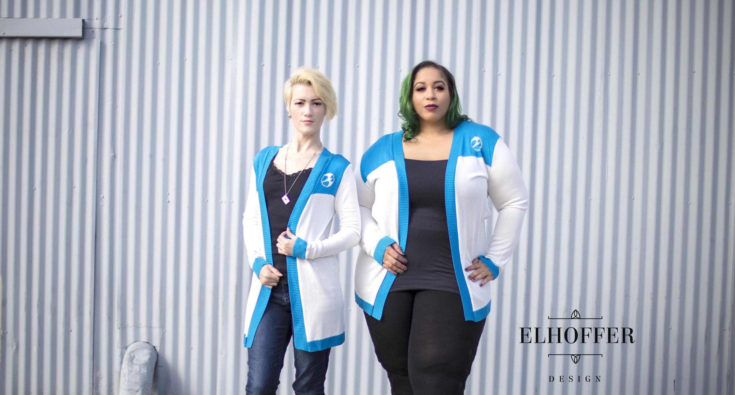 Jessie  (left) modeling a small longline cardigan and Dawn (right) modeling a 3XL longline cardigan. Photo credit: Elhoffer Design