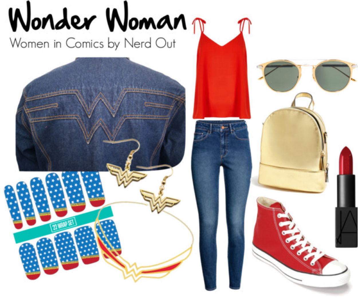 Wonder Woman  by  nerdout  featuring  cartier glasses      River Island tall shirt    /    High waisted jeans    /    Converse high top    /    Forever 21 gold backpack    /    Earrings    /    Necklace    /    Cartier glasses   /    Nars cosmetic    /    Nail care