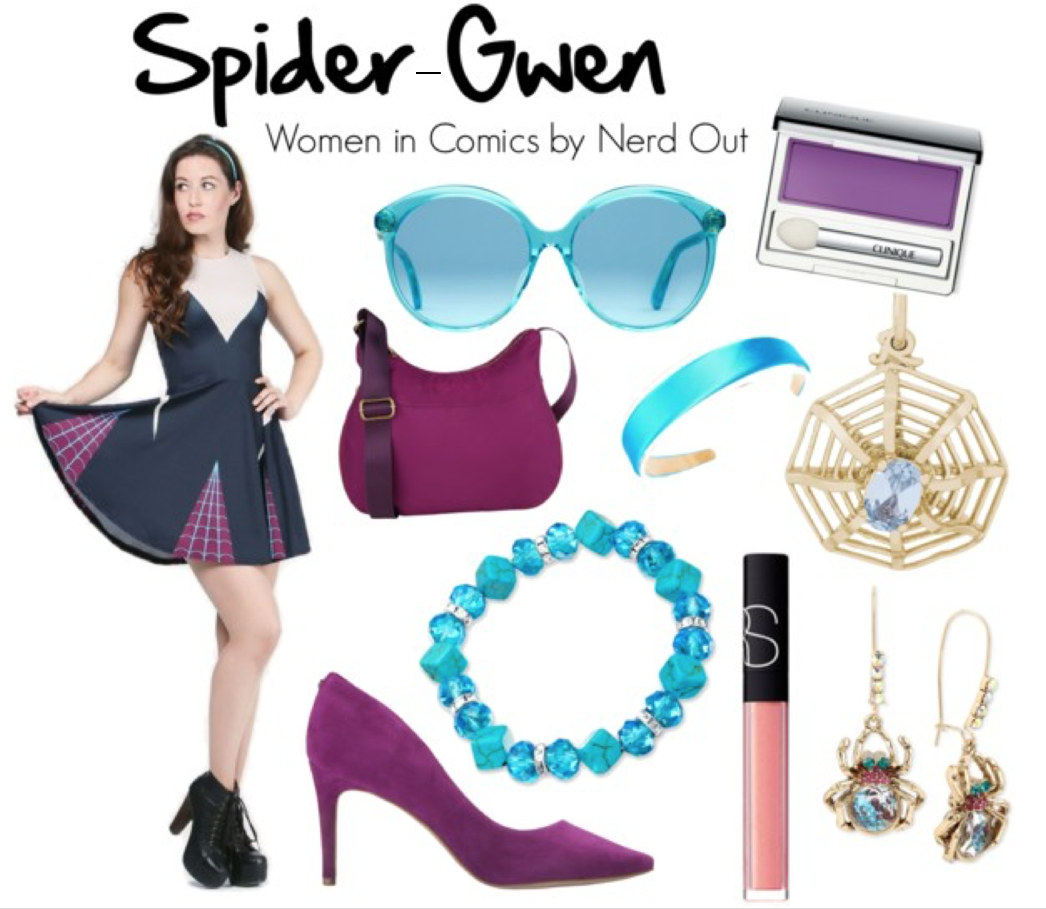 """Spider Gwen  by  nerdout  featuring  Betsey Johnson      GUESS high heel shoes    /    Suvelle travel purse crossbody    /    Betsey Johnson earrings    /    Bling Jewelry blue jewelry    /    Rembrandt Charms crystal charm    /    Gucci transparent sunglasses    /    Clinique eyeshadow    /    NARS Cosmetics glossier lip gloss    /    Amazon.com: 1"""" Girls Satin Headband (Turquoise Blue): Clothing"""