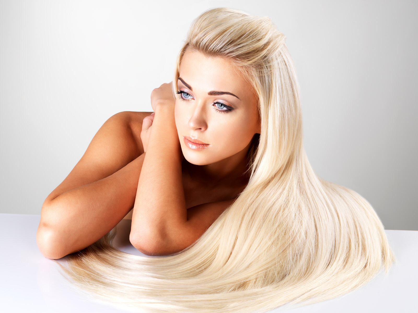 A girl with long blonde hair