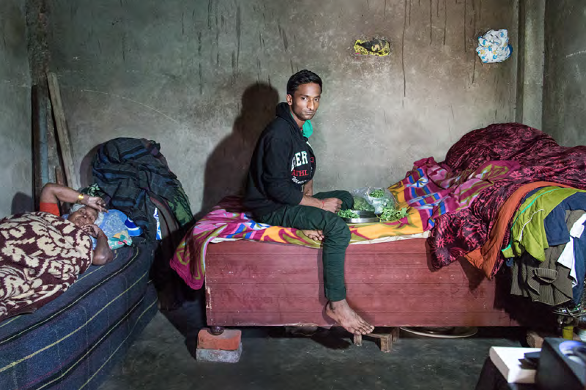 His name is Ansh and he is sharing a small room with his mother and aunt. He is the only male in the family and have to support all of them financially. Ansh has two jobs at the same time.