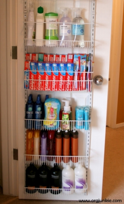 The back of a door is great for storing & organizing, With a rack like this your toothpaste will always have a home.