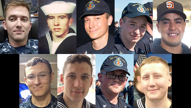 The Navy sailors killed or missing after the collision of the USS John S. McCain with a merchant ship on Aug. 21, 2017. Clockwise, from top left: Charles Findley, Abraham Lopez, Kevin Bushell, Jacob Drake, Timothy Eckels Jr., Kenneth Smith, Dustin Doyon, John Hoagland III, Logan Palmer. Not pictured: Corey Ingram.  U.S. NAVY / CBS NEWS