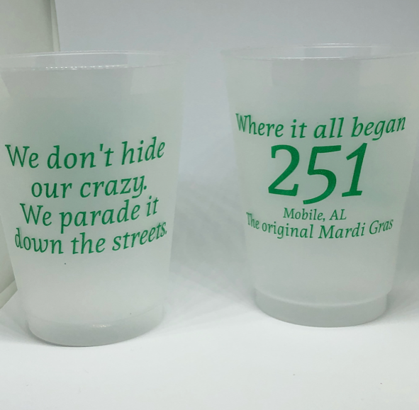 front and back - 16oz frosted plastic party cups