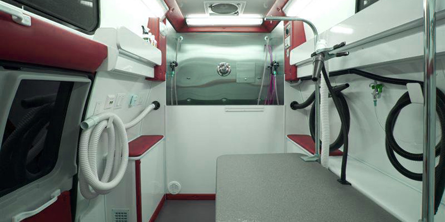 The Zoom Mobile: Mobile Dog Grooming Van Interior - equipped for comfort, cleanliness, and state-of-the-art pet treatment.