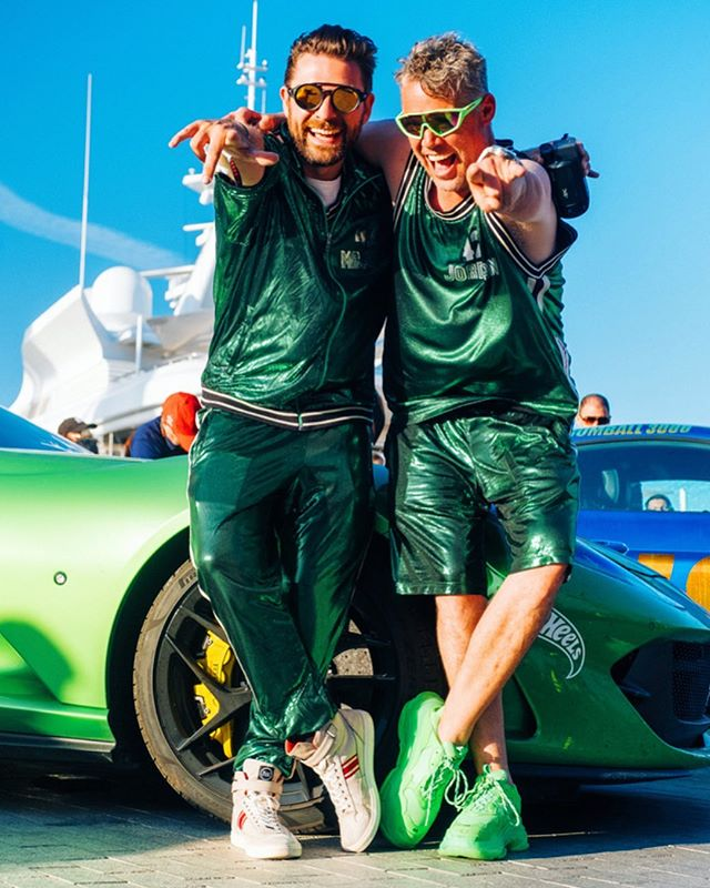 Throwback to the utter lunacy Of @gumball3000 this year with my brother from a Canadian mother @teamskookum rocking the wildest outfits for the final leg of the rally - rolling in to Ibiza with a bit of greenery to match the scenery! 😂 That's what this rally family is all about, great people, amazing places, awesome cars and simply not giving a F 🤘🏼 . Photo @richardpwalton . #MrJWW #Gumball3000 #FastLife #Ferrari #812superfast