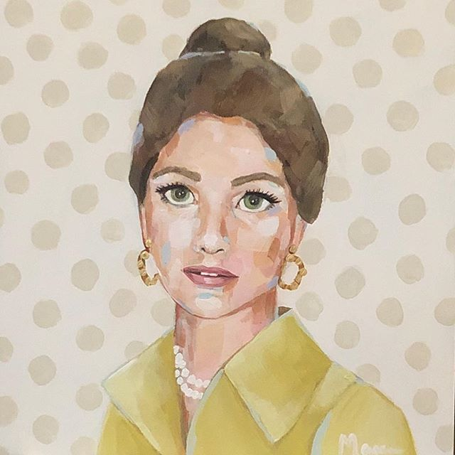 I met one of my dear friends about 17 years ago. Her mother had passed away a few months before we met. I have loved hearing stories of her beautiful spirit, her elegance, love for life and how she lit up a room when she entered. Ever since I saw this beautiful photo of her mom from the 1970's I have wanted to paint her. I hope this painting will always bring her happy memories of her mom and remind her how much she is treasured as a friend! 😘 @_goldfeather_