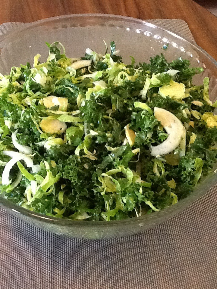 This is an adaption of a salad made by Giada De Laurentiis.   I served it the other night and everyone thought it was delicious.   Having a Food processor helps. But you can make it without.     1 bunch of kale. Chopped very fine.   2 bulbs of fennel. Sliced very thin.   10-12 brussel sprouts, sliced very thin  1 large cucumber , sliced thin    Mix all together.   Dress with ¼ cup olive oil and the juice of 1 lemon.   It's best to dress this salad at least 3 hours before serving.