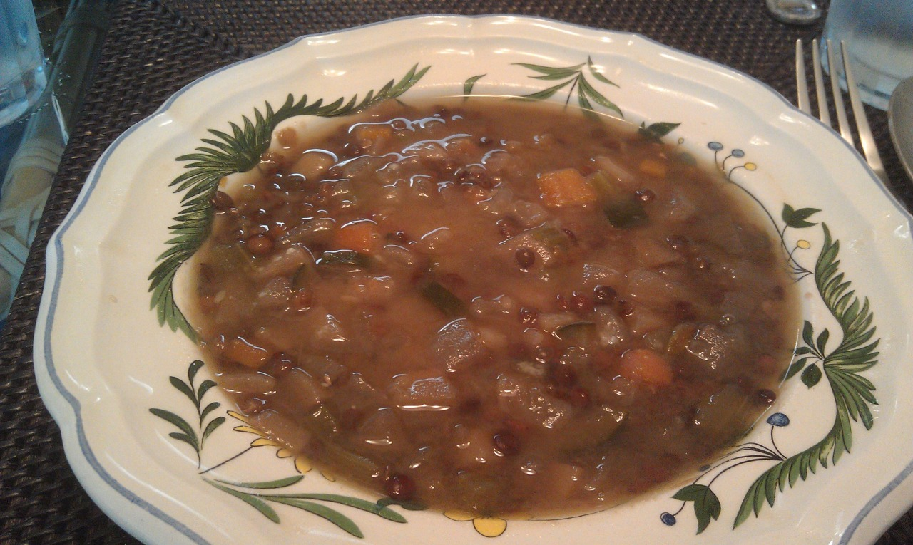 This is a variation of my basic lentil soup. It turned out so good, I thought I would share it with you.   It's a creamier version. I used some orange lentils and they added a wonderful creamy texture to the soup. Here it is.   Note:  I like to chop up my vegetables all the same size.  The soup will cook more evenly this way.   And it looks very nice in the bowl.     1 Tbsp. Olive oil  1 small onion diced  2 stalks celery, diced  2 carrots, diced  3 turnips, diced  1 parsnip, diced  2 small or 1 large potatoe, peeled and diced  1 zucchini squash, diced  ¾ cup small French style lentils, black or dark green  ¾ cup orange lentils.  4 ½ cups vegetable stock or water  11/2 tsp salt. Wait until the soup is done before you add the salt. It can harden the lentils while they are cooking.   Optional: red pepper flakes. If you prefer a little heat.  If you feel the  soup is getting too thick, just add a little water. Remember, it much easier to add liquid, it's hard to take it out.     Heat the oil in a large soup pot.  Add the onion and cook about 6 minutes to soften. Add the celery, carrot, turnip, parsnip, potato and zucchini.  Stir in the lentils.  Cover with the stock. Bring to a boil, reduce to a simmer and cook for 1 hour.   I hope you enjoy this.