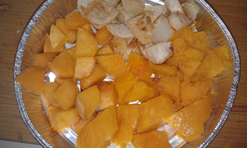 A great side dish to warm your appetite.  Super easy.   2 Tbsp. olive oil  1 small butternut squash  2 turnips,  2 Rutabagas  Salt and pepper    Preheat oven to 400 degrees.   Prepare the vegetables, peel and cut into 1 inch squares. Place in a bowl.   Mix in the olive oil. Salt and pepper. Pour into a baking dish. Bake, uncovered, for   40- 45 minutes.