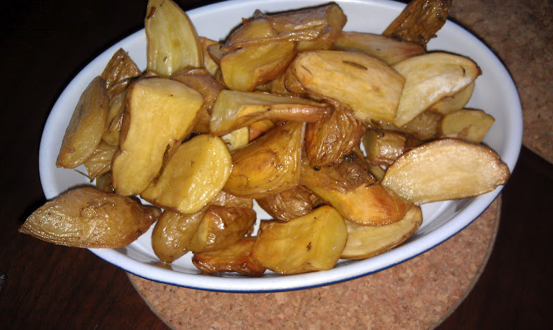 These are my favorite roasted potatoes. So easy to make. Cut up the potatoes, coat with a little olive oil and some sea salt. Put on a foil lined baking sheet and bake at 400 degrees for about 35 minutes. They are always a big hit.