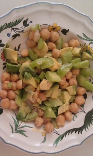 Sometimes I come home from a workout or a walk and it is time for a pick me up snack. This one is so easy and it packs a powerful burst of energy.     You can get creative and add more ingredients but for a fast wonderful snack try this one. I will put up my recipe for cooking garbanzo beans from scratch. These are easy to make. If you don't want to go to the trouble. Feel free to open a can, but once you try making your own, you will never go back.    ½ cup Garbanzo Beans   ½ cup chopped celery   ½ avocado, diced   1 tsp. lemon juice   1 Tbsp. Olive oil   salt and pepper to taste.   Mix everything together and enjoy.