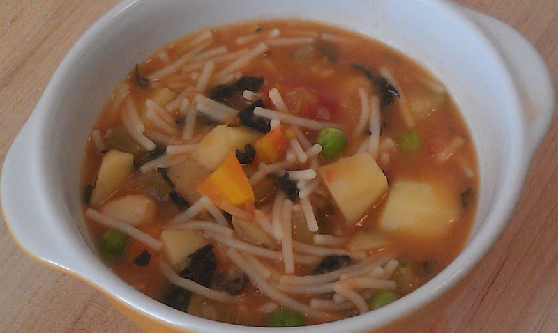 It was raining and I decided to make a few pots of soup. It's the best go to meal or snack for anyone on an alkaline diet. This soup is very filling and satisfying. Easy to make and freezes beautifully. I always have a quart of of soup in my freezer.I will post the other one in a few days.     2 Tbsp. Olive Oil    ½ onion, chopped   2 stalks of celery, diced   4 carrots, diced   1 zucchini squash, diced   1 potato, diced    ½ cup cooked cannelloni beans or any white bean   1 cup shredded kale   ½ tsp dried oregano   ½ cup fresh or frozen green peas   1 14oz. can of chopped tomatoes   1 cup dried alkaline pasta (I used Spelt Flour Pasta)   5 cups vegetable stock   1 tsp salt    pepper   In a medium size pot, heat the olive oil. Add the onion, celery and carrots and cook for about 5 minutes, until the onions are soft. Add the zucchini, potato, kale and beans. Season with salt and pepper and oregano. (see note). Pour in the 5 cups of vegetable stock and the tomatoes. Cook for 45 minutes. Add the pasta and peas and continue to simmer until the pasta is cooked. About 10 minutes.    Note: The amount of salt to use depends on the stock that you use. If your stock is salt free, you might need to add a little more. If your stock has salt in it, you might have to use a little less. It's always good to taste while you cook to adjust the seasonings. Optional: Top with a spoonful of Parmesan cheese for a special treat.    Tip: Since parsley is a very alkaline green. I often sprinkle it over my soups as an added punch of an alkaline ingredient.