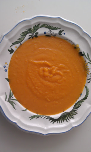 A reader asked for a recipe for Butternut Soup and I made this today and thought I would share it with you. My squash soup is different from most because I use mostly squash and very little liquid. I like the the soup to be thick and taste like squash.    Feel free to play around with this soup. The exact measurements do not matter. I put them in as a guideline. Remember to taste as you go along so you can adjust your seasoning.    Here is the recipe:    1-2 Butternut Squash (depending on what is available) you want to end up with about 4 cups of cooked squash. Don't worry if it is a little more or less. It won't matter.    ¾-1 cup vegetable stock    1 small onion, sliced   2 Tbsp. clarified butter   2 Cinnamon sticks   1 Tbsp. olive oil    ½ -1 tsp sea salt   pinch of ground cloves   Cut the squash in half, scoop out the seeds and place on a foiled lined baking sheet. Add the olive oil and spread evenly on the foil. Place the squash flesh side down and bake in a 350 degree oven for 45 minutes. Remove from oven and let cool.    While the squash is baking, melt the butter in a frying pan and add the onion and cinnamon sticks. cook on a very low fire until the onions reach a light golden color. 30-40 minutes.    Remove the skin from the squash and place in a blender, add the juice that is left on your baking tray. Remove the cinnamon sticks from the onions and add the onions to the squash. Puree( blender, Cuisinart or immersion blender). Pour into a pot, add the stock and place on the stove. Bring to a simmer and gently heat, you will have to stir frequently. Add the salt and cloves   Note: You might not need  all of the stock so start with ½ cup and add a little at a time. This is a fairly thick soup. Remember to taste and correct your seasoning.    I hope you enjoy this.