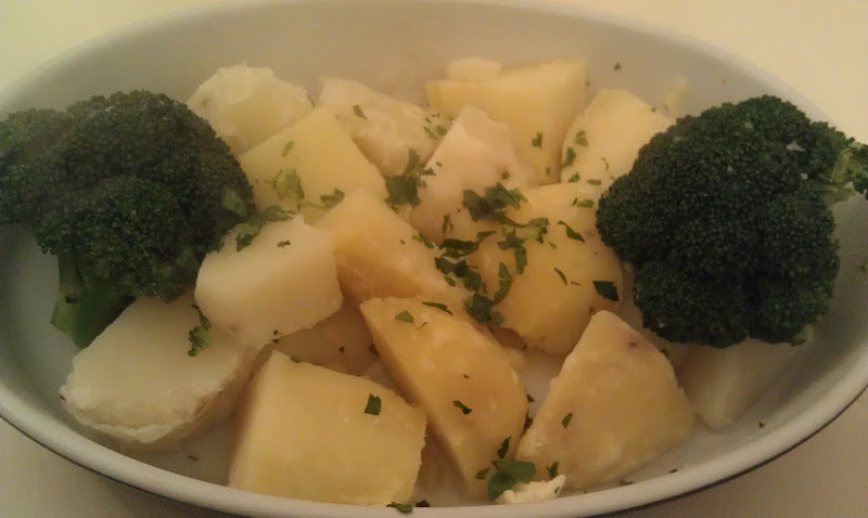 BoiledPotatoes with Broccoli  Serves 2   I served this as a side dish to the Filetof Sole that I made last night.   2 potatoes diced   2 stalks of broccoli   1 tsp. chopped parsley   Salt and pepper to taste   Place the potatoes in a pan, cover with cold water. Bring to a boil and simmer about 10 minutes until potatoes are tender, add the broccoli and cook another 2-3 minutes. Drain and place in a serving bowl. Sprinkle with the parsley.