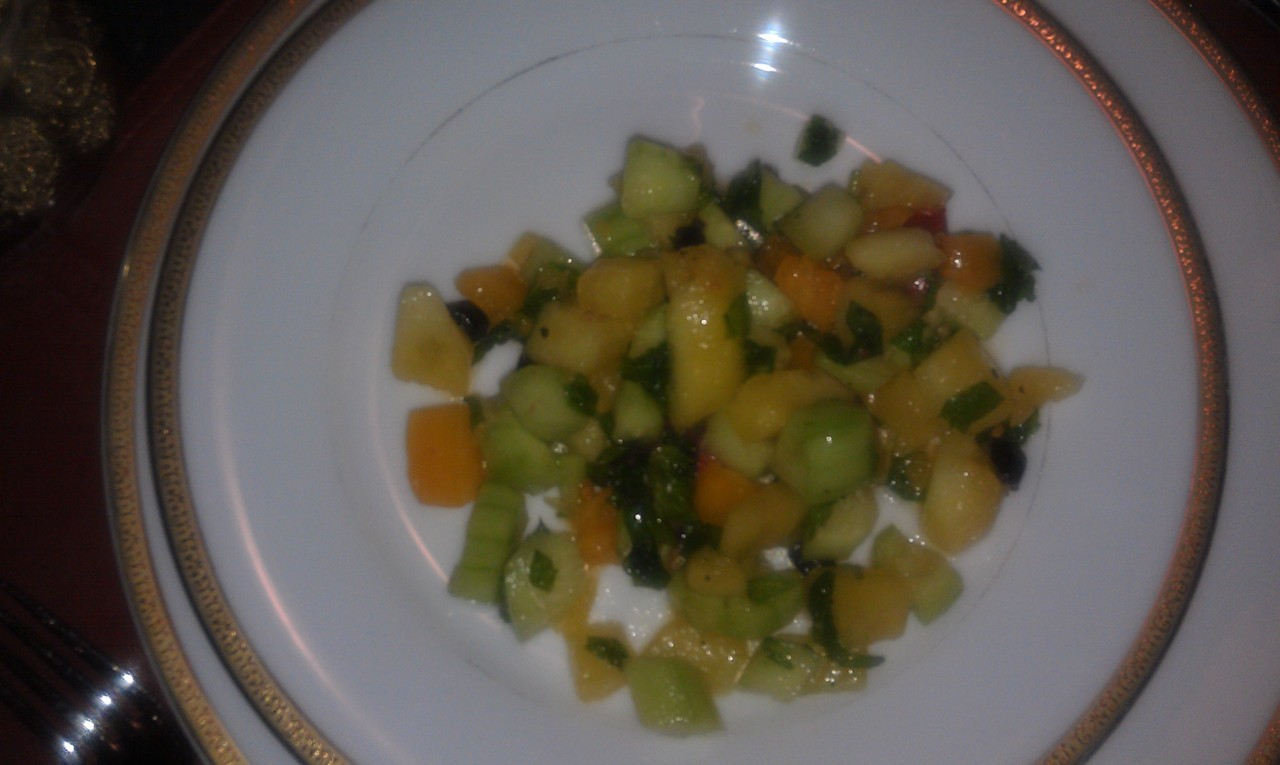 I was at a friends house the other night and this was served as the first course.    I wanted to share this with you because it's easy and a delicious way to start a meal. Serves 4-6   1 cup honeydew melon, diced   1 cup celery, diced   1 cup heirloom tomatoes, diced   ½ cup fresh mint, chopped   Juice of 1 lime.    Mix all of the ingredients together in a bowl.    That's it. How easy was that. I know you will enjoy this delicious treat.