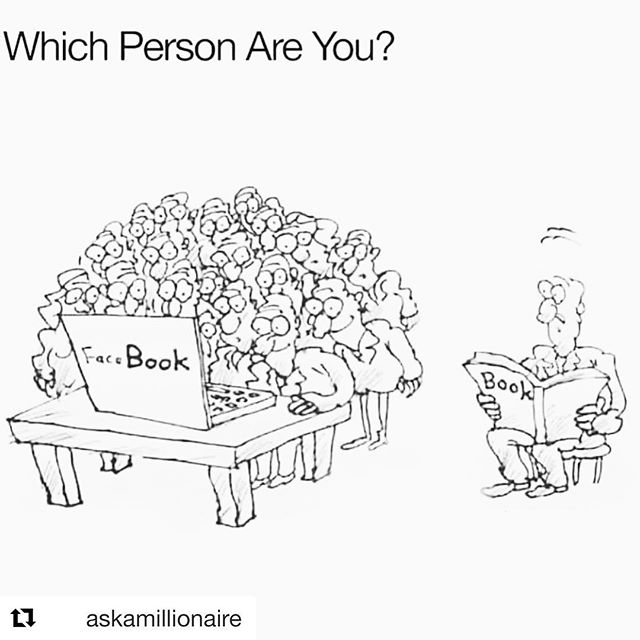 Do you spend more time on Facebook or reading real books? Which use of your time do you think is most productive? Great thought from @askamillionaire