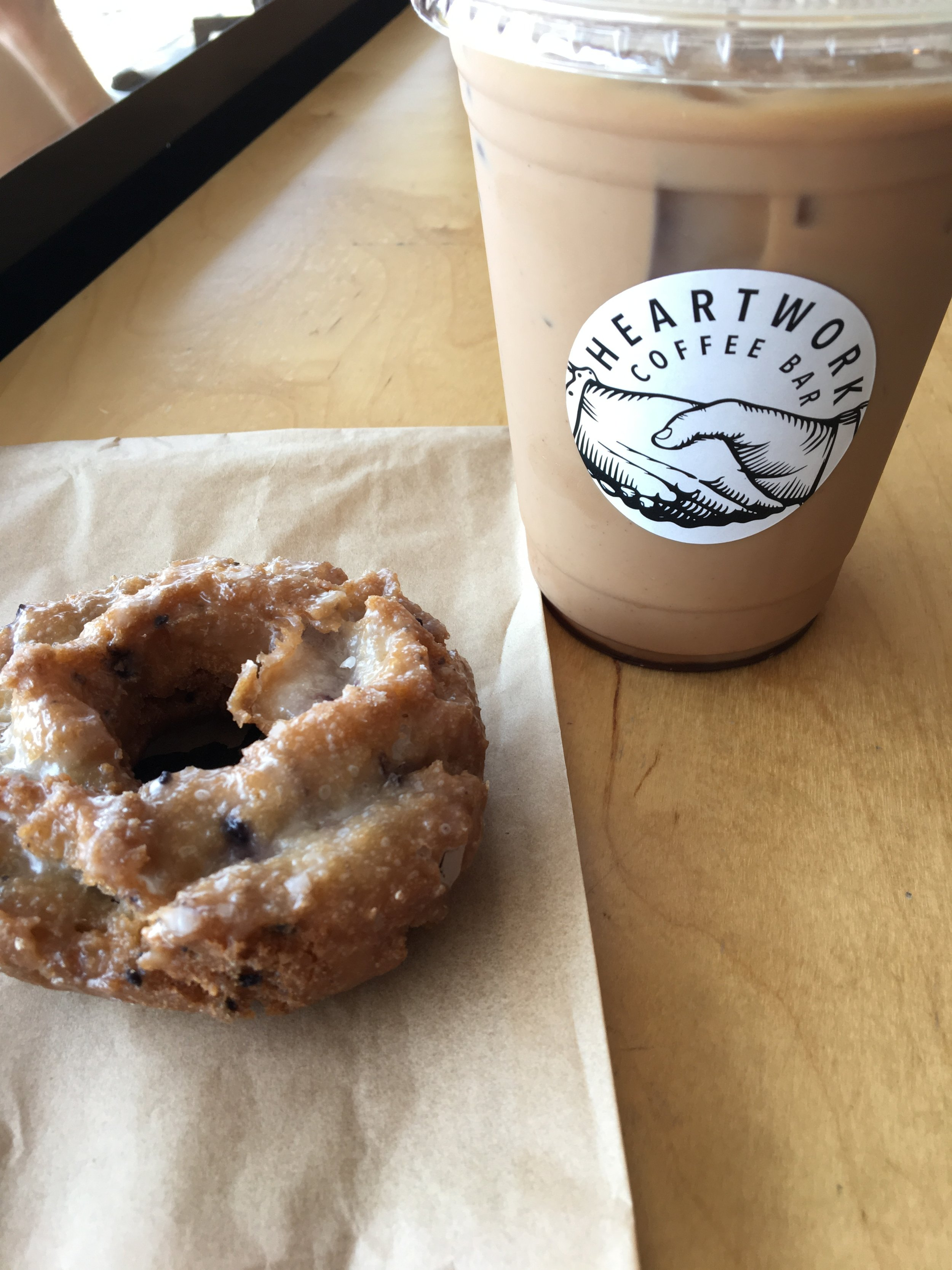 Blueberry doughnut and Clark Griswold at Heartwork Coffee Bar in Mission Hills. Photo by Ranger Holly.