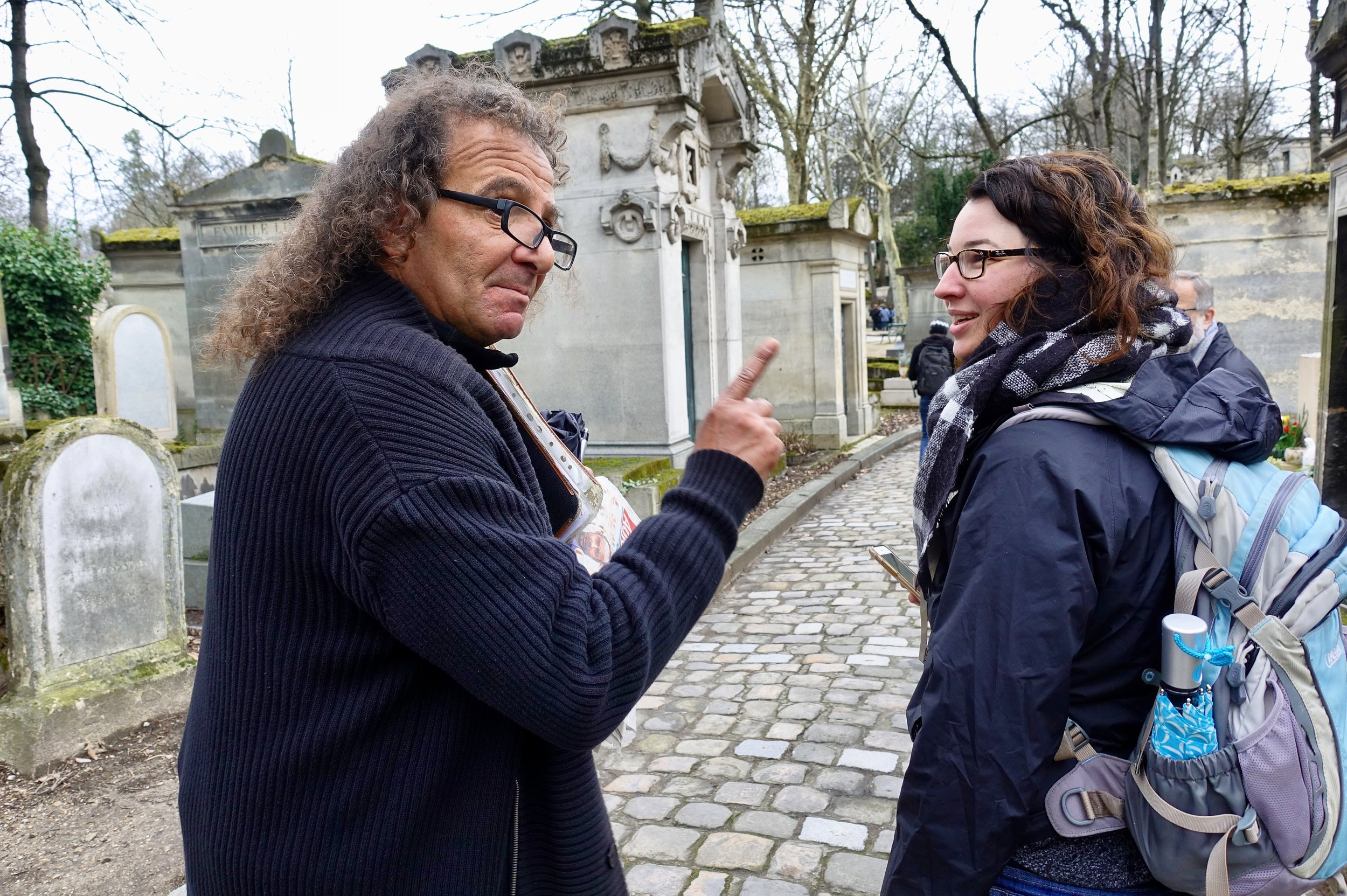 In Père Lachaise Cemetery with the friendliest ghost. Photo by Jane Mitchell.