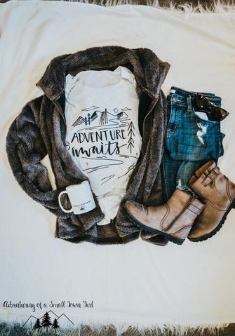 Adventure Awaits T Shirt by Adventuring of a Small Town girl