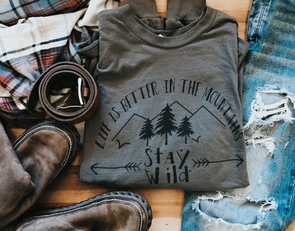 Life is better in the mountains stay wild long sleeve womans tshirt by adventuring of a small town girl.jpg