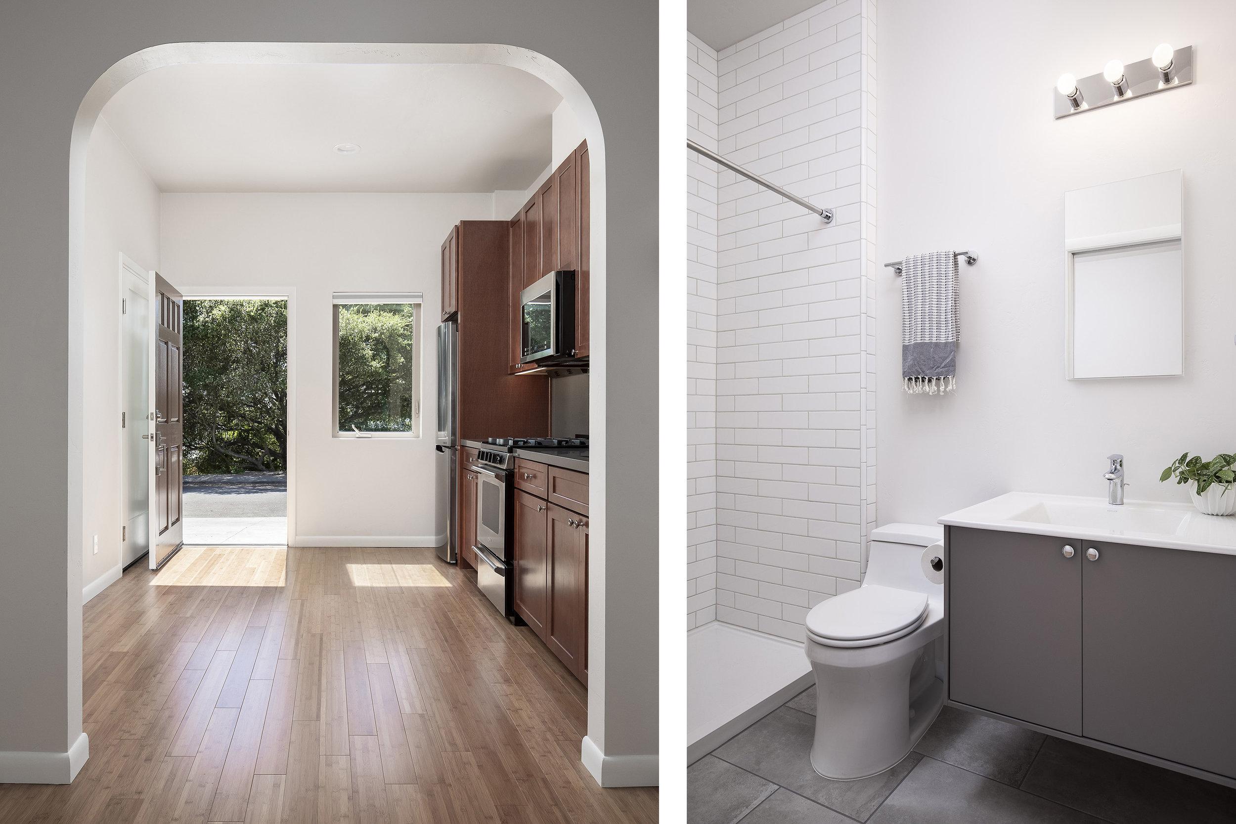 Small modern ADU interior kitchen and bathroom