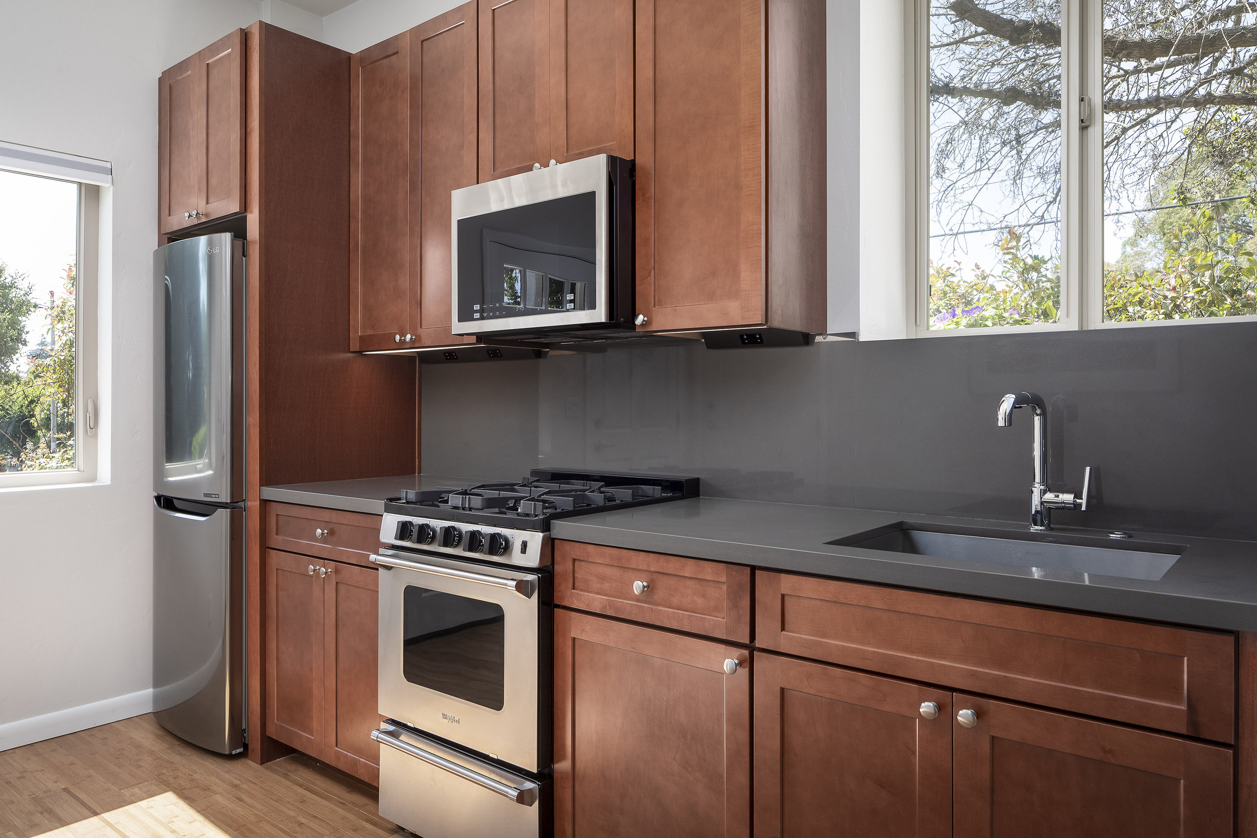 Small and efficient modern ADU kitchen