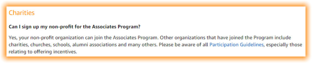 Non-profits, like schools and PTO / PTA groups, are eligible to participate in the Amazon Associates Program.