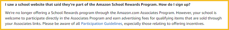 Amazon is no longer offering Amazon School Rewards. However, schools are welcome to participate directly in the Amazon Associates Program.