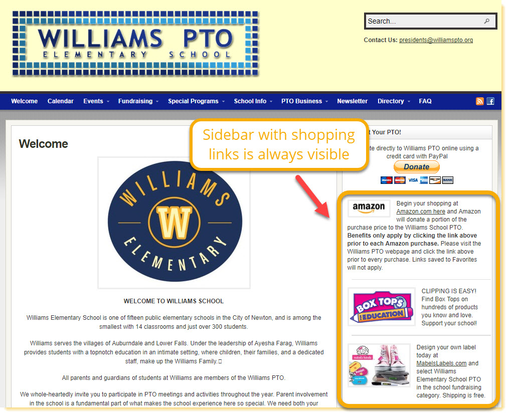 """Williams Elementary School PTO home page shows a good example of promoting """"shop to earn"""" fundraisers in the sidebar that is visible on every page."""