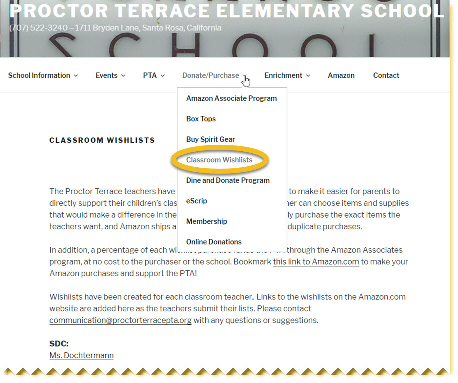 Examples of teacher wish lists and Amazon Associates fundraising links from Procter Terrace Elementary website.