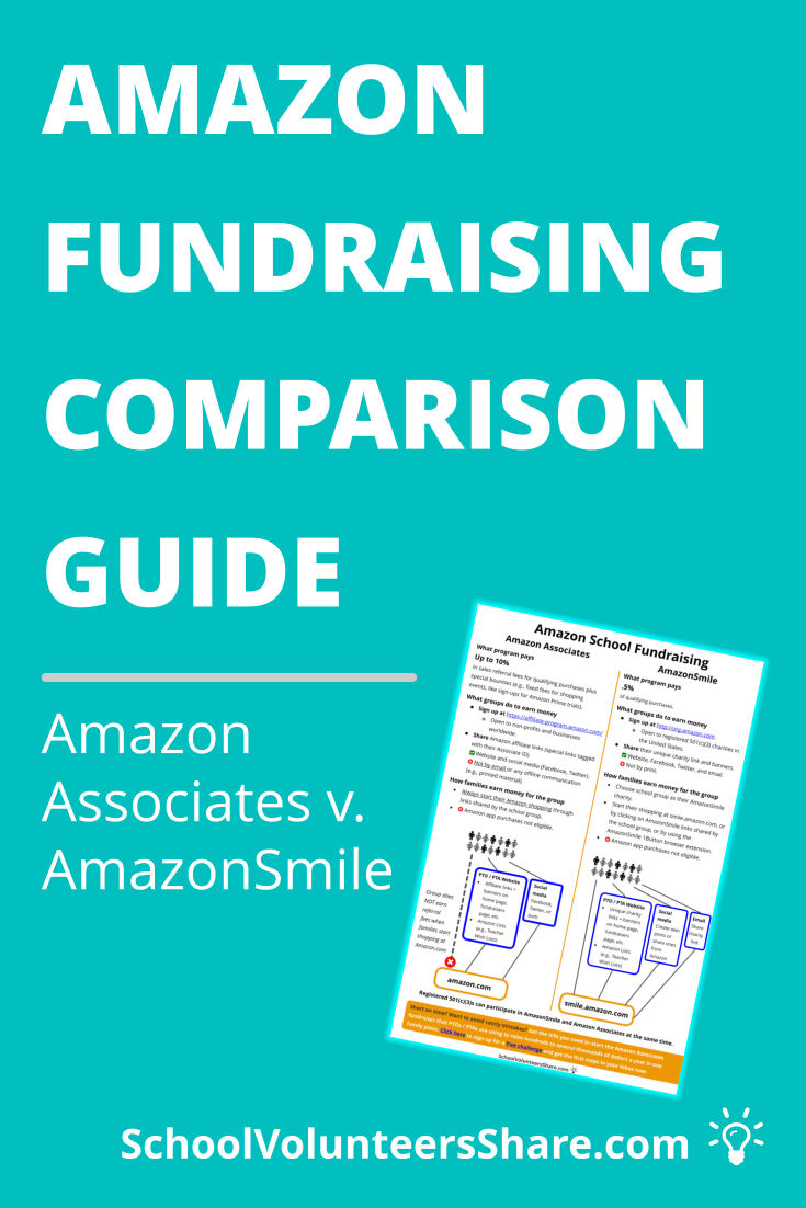 Amazon School Fundraising Comparison Guide: Amazon Associates v. AmazonSmile. PTOs, PTAs, and other school groups that are registered 501(c)(3) charities have two Amazon online fundraising options: AmazonSmile and the Amazon Associates Program. This visual guide compares the differences. #SchoolVolunteersShare #PTO #fundraising #fundraiser #schoolfundraiser