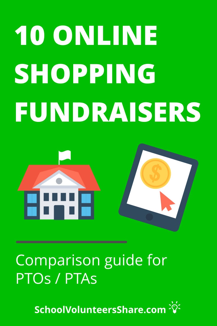 10 EASY Online Shopping Fundraisers for Schools - PTO / PTA comparison guide of 10 online shopping fundraisers, including Amazon Associates Program, AmazonSmile, Benefit Mobile, Goodshop, IGive.com, Mabels Labels, Mighty Nest, Shutterfly/Tinyprints. #PTO #SchoolVolunteersShare #fundraising