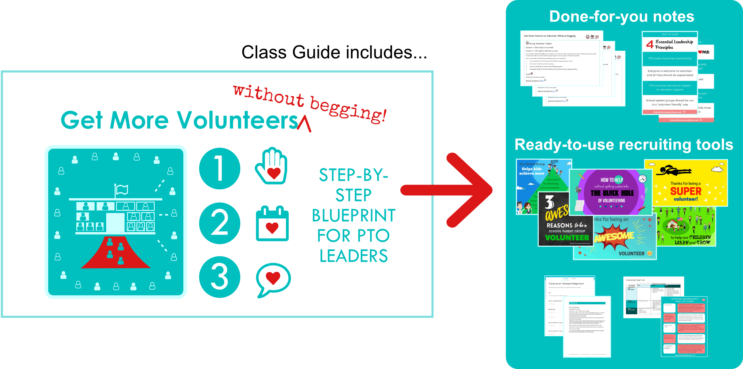 FREE video training for PTO volunteers: Get More Volunteers Without Begging: step-by-step blueprint for PTO leaders who are tired of getting stuck doing EVERYTHING