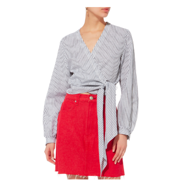 RAG & BONE via Intermix-Prescot Striped Wrap Blouse   The Prescot Striped Wrap Blouse by Rag and Bone is the perfect top for the summer. An exaggerated tie at its hem brings a relaxed look to this striped blouse. Pair with a red skirt for your 4th of July or over a bikini at the beach as a chic coverup.