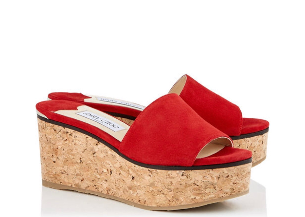 Jimmy Choo DEEDEE 80 WEDGE   The DeeDee 80 wedges from JC are the perfect pop of color to any summer ensemble. Designed with a chic wearable heel and ribbed rubber sole, this style ensures comfort as well as style. Perfect to pair with everything from jeans to dresses.