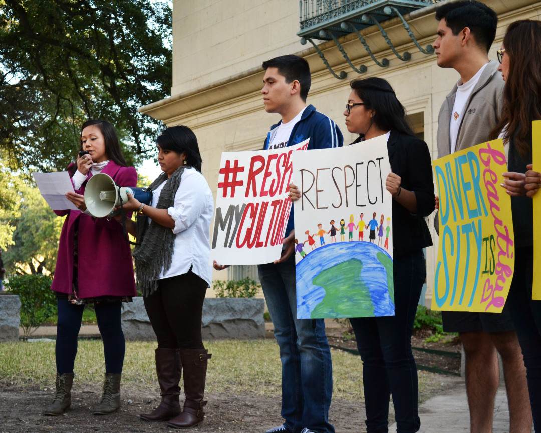 UT Latinos' student leaders stand in front of the crowd on February 12, 2015 during the United Against Racism March in Austin, Texas. The group held a rally in which leaders from various groups discussed the problems with both the party and the University's policies on discipline for these issues before marching to the Phi Gamma Delta (FIJI) house.