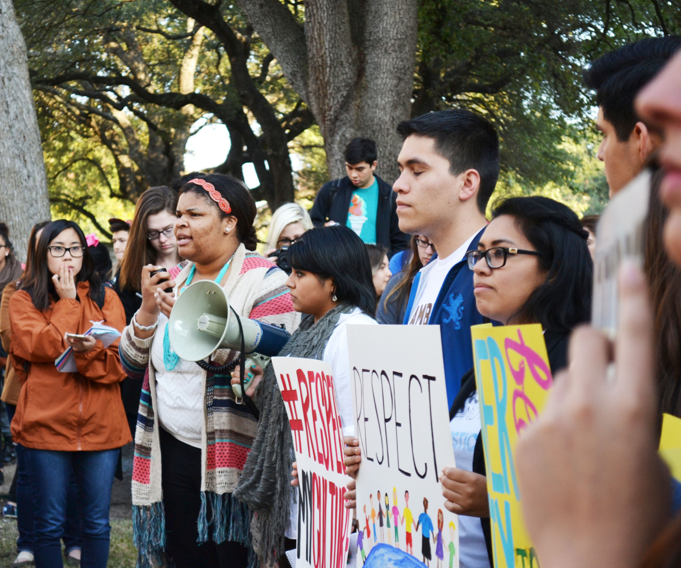 Amber Magee, second year biology, leads the rally before the United Against Racism March on February 12, 2015 in Austin, Texas. Magee is a LEAP mentor with the Leadership and Ethics Institute and discussed why culture should not serve as an attraction feature for parties as students mainly go to Snapchat and hangout.